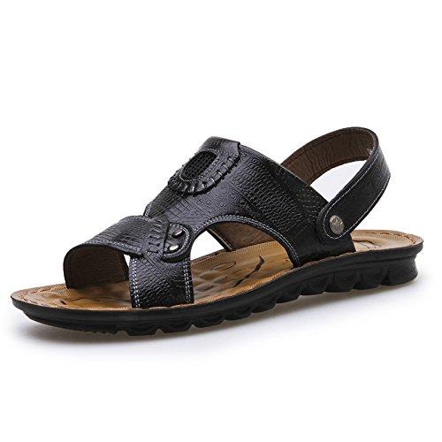 les sandales de sandales en cuir à double usage occasionnel; chaussures sandales en cuir et sandales Black