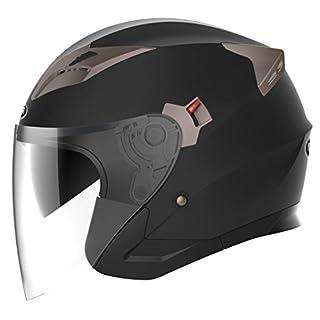 YEMA Jethelme Rollerhelm Sturzhelm Chopper Helm YM-627 Motorradhelm ECE mit Doppelvisier Sonnenblende für Damen Herren Erwachsene-Schwarz Matt-L