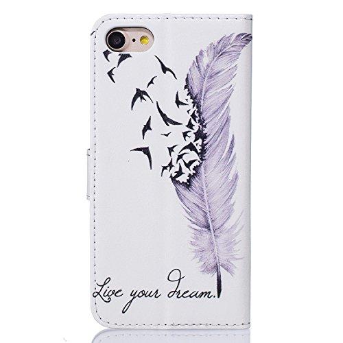 Voguecase® Pour Apple iPhone 6/6s 4,7 Coque, Étui en cuir synthétique chic avec fonction support pratique pour Apple iPhone 6/6s 4,7 (dream/plume-Pink)de Gratuit stylet l'écran aléatoire universelle Dream/plumes violettes