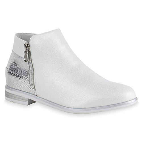 Damen Stiefeletten Flache Ankle Boots Lack Metallic Schuhe Silber