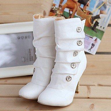 Bottes pour femmes Bottes Mode hiver bottes mode Décontracté PU talon Blanc Gris Noir 2in-2 3/4,Blanc US5.5 / EU36 / UK3.5 / CN35