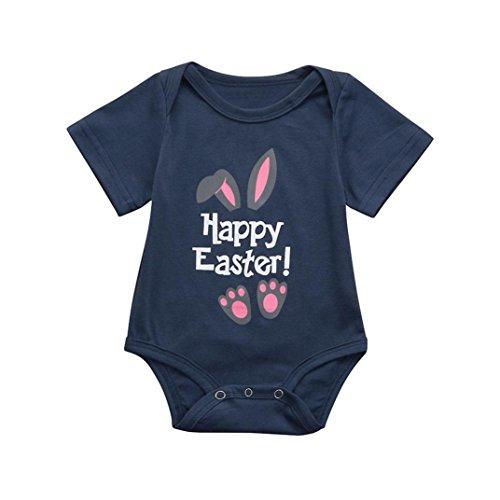 Malloom® Infant Baby Jungen Mädchen Ostern Brief Cartoon Kaninchen Print Strampler Overall Outfit (navy, 80)