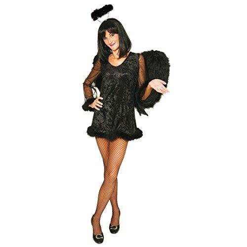 Sexy Damen Kostüm Schwarzer Engel Black Angel Dunkler Engelskostüm Engelkostüm Minikleid (Engel Dunkler Kostüm Ein)