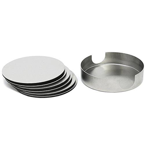 com-four® 7-teiliges Untersetzer Set aus rostfreiem Stahl, Getränkeuntersetzer mit Halter, Ø 10 cm (007-teilig - rostfreier Stahl)