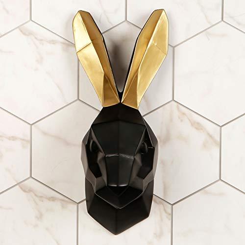 Walplus Zeitgenössisch Künstlich Taxidermie Kopf für Wand Dekor Tier Replik Dekorative Halterung Kunst Skulptur Geschenk Schwarz Hase Gold Ohren Wand Aufhänger