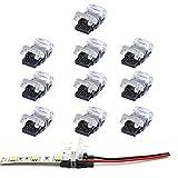 VIPMOON 10 Pack 2Pin LED-Streifen-Verbindungsstück für 10mm wasserdichtes Einzelfarbe 5050 LED-Streifen, schnelles Band, um Verbindungsstück ohne Abisolierdraht zu verdrahten