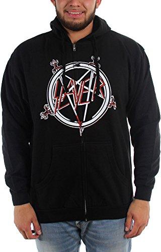 Pentagram Slayer-Felpa con cappuccio da uomo con Zip nero Medium