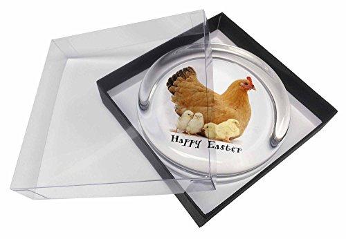 Henne mit Küken 'Happy Easter' Glas Briefbeschwerer in Geschenkbox Weihnachtsges