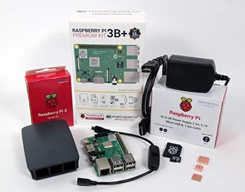 Melopero Raspberry Pi 3 Model B+ Official Premium Kit Black 32GB (with Raspbian)