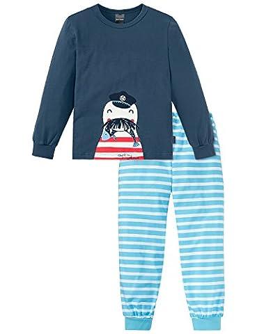 Schiesser Jungen Zweiteiliger Schlafanzug Maritim Knaben Schlafanzug lang 156660, Gr. 128, Blau (dunkelblau