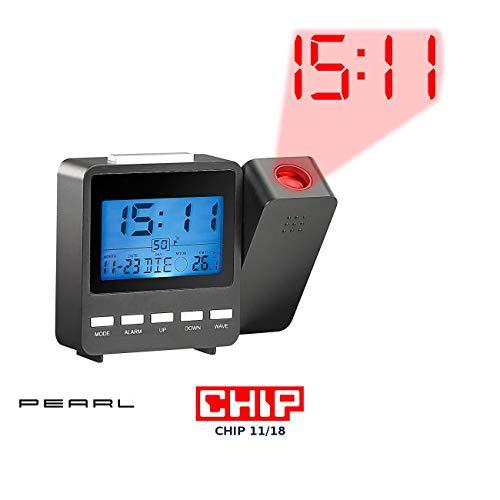 PEARL Projektionsuhr: Funk-Projektionswecker DAC-662.Beam mit Temperaturanzeige (Wecker mit Leuchtziffern an Decke)