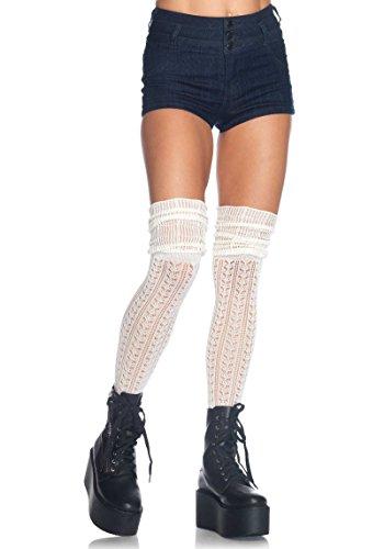 Leg Avenue Damen Overknee Strümpfe creme weiß Einheitsgröße One Size ca. 38 bis 40