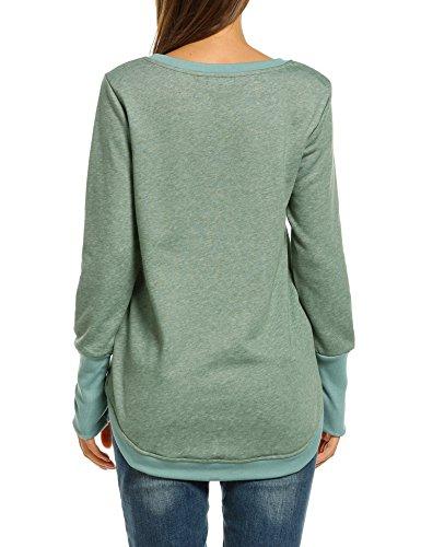 ACEVOG Damen Sweatshirts Langarm mit Trennlinien auf der Vorderseite Rundkragen casual Oberteile Langarmshirt Hoodie Grün