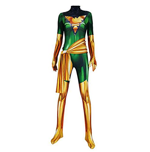 ASJUNQ X-Men Dark Phoenix Kind Erwachsener Kostüm Cosplay Verkleidung Dress,Halloween Mottoparty Strumpfhosen 3D Drucken Onesies Karneval Overall,Women2-M (Phoenix Kostüm Kinder)