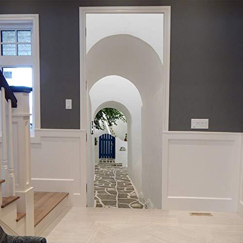 Griechische Paros Arch Tür Renovierung Aufkleber Tür Wandbilder selbstklebende Wandaufkleber Kunst wasserdichte Tapete Wohnkultur (Mickey Arch)