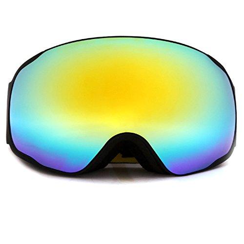 Extra große Spherical Lens Revo Spiegel Skibrille SNOW Gläser/UV-Schutz Mehrfarbig Doppel Anti-Fog Snowboard Skifahren Brillen Winter Sport, Schwarzer Rahmen
