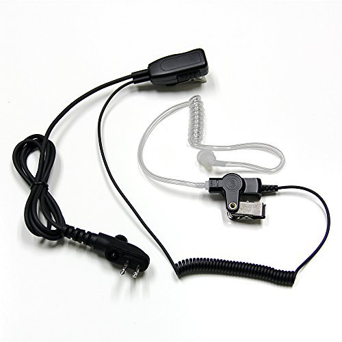 MaximalPower HYTERA HYT Single Wire 2-Pin Radio Earbud Headset PTT Mic in-Ear Clear Coil Tube
