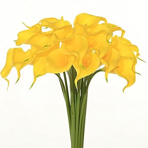 Bouquet de fleurs Calla artificielles en latex 20 pcs JUSTOYOU, toucher réaliste, fleurs pour bouquet de mariage, la maison, l'hôtel, le jardin, Tissu, Yellow with Yellow core, 20 PCS