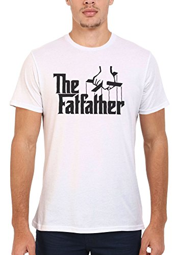The Fat Father Cool Funny Men Women Damen Herren Unisex Top T Shirt .Weiß