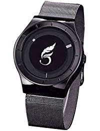 Madhav Fashion Attractive Black Dial Black Strap Stylist Creative Analog Watch For Men58977-BLACKDIAL-BLACK@
