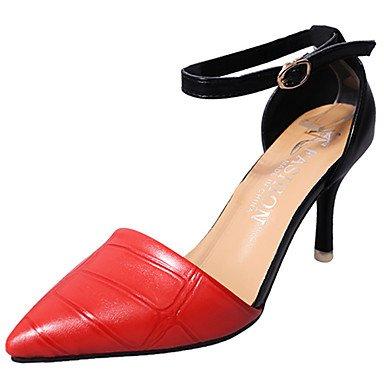 pwne Donna Sandali Scarpe Club Pu Primavera Estate Abbigliamento Sportivo Fibbia Split Joint Stiletto Heel Rosso Nero Giallo 3A-3 3/4In US7.5 / EU38 / UK5.5 / CN38