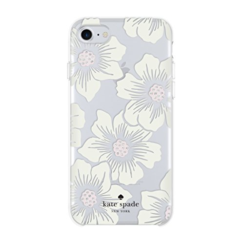 Kate Spade New York Hardshell Case Schutzhülle für Apple iPhone 7 / 8 - Hollyhock Floral/Cream [Transparentes Design | Schwarzes Logo | Glitzer Akzente | Hochwertige Materialien] - KSIPH-055-HHCCS -