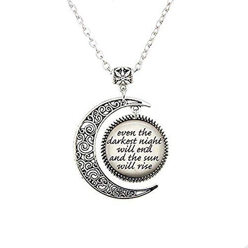 Buch Zitat Halskette Mond–auch die dunkelsten Nacht Ende und The Sun Will Rise–Literarische Zitat–Victor Hugo Zitat–Literatur Geschenk