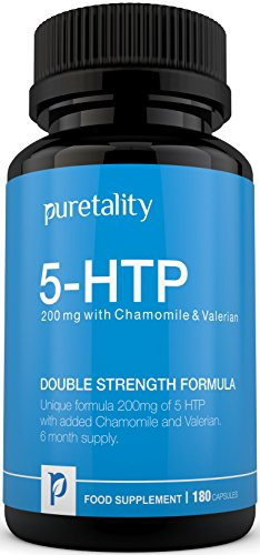 5-HTP 200mg, 180 Capsules (6 Month Supply) - 100% MONEY BACK GUARANTEE - Double Strenghth 5 HTP with Added Valerian and Chamomile by Puretality Test