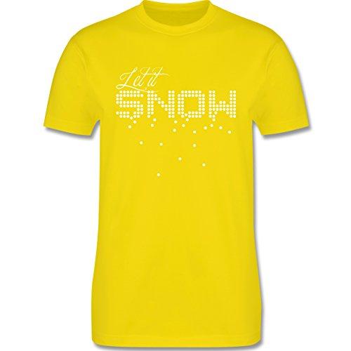 Weihnachten & Silvester - Let it snow Schneeflocken - Herren Premium T-Shirt Lemon Gelb