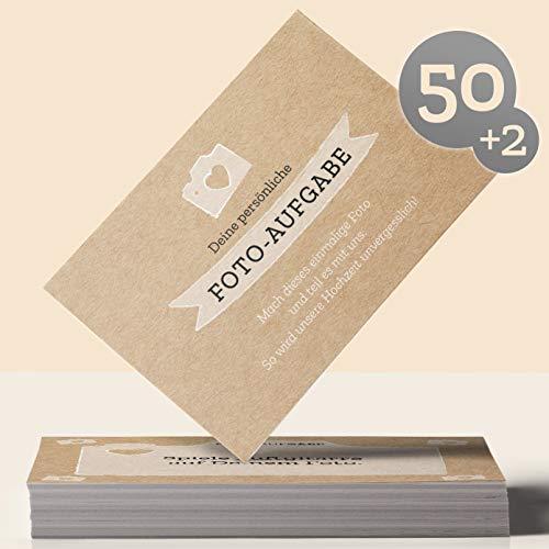 Hochzeitsspiel: 50 Fotoaufgaben für die Hochzeit + 2 Blanko Fotokarten - für unvergessliche Hochzeitsfotos und Gäste, die sich ungezwungen kennenlernen