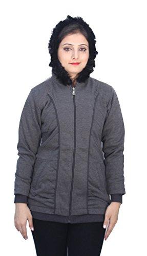 Romano Beautiful Full Zip Fleece Black Winter Hooded Sweatshirt for Women