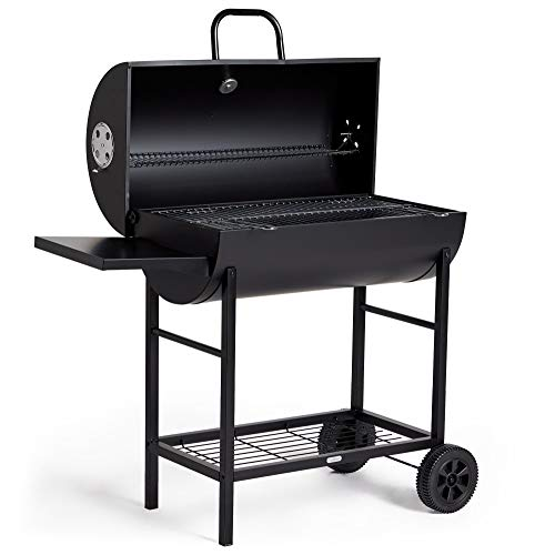 VonHaus Charcoal Barrel BBQ & Smoker with Temperature Gauge - 105cm Steel Barbecue Grill with Side Table