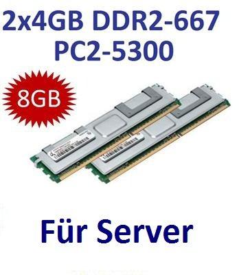 Dual Channel Kit: 2 x 4 GB = 8GB 240 pin DDR2-667 Fully Buffered FB-DIMM (667Mhz, PC2-5300, CL5) - 100% kompatibel zu DELL Part 370-12485 - passend für DELL Workstation Precision Rack-Workstation R5400 + Precision Workstation 490 + 690 + T5400 + T7400 + PowerEdge 1900 + 1950 + 1955 + 2900 + 2950 + M600 + R900 + (667 Fb Dimm Kit)