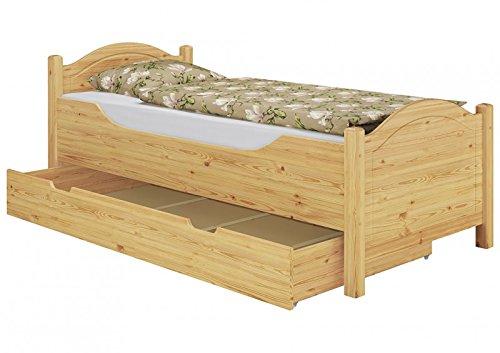 Erst-Holz® Seniorenbett extra hoch Bettkasten 100x200 Kiefer Holzbett Einzelbett Gästebett 60.40-10 oR S4