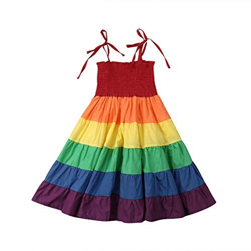 WangsCanis Mädchen Regenbogen Böhmische Sommer Kleider ärmellose Rainbow Beach Prinzessin Strand Sommerkleid (4-5 Jahre) (Rainbow Kleider Für Kleinkinder)