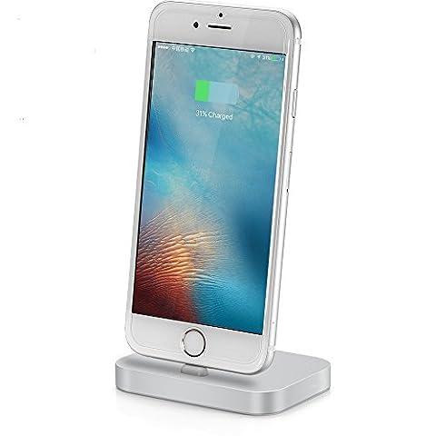 iPhone Chargeur Station d'accueil Dock - TUOUA Station de charge/syncro pour appareils Apple avec port Lightning. Station d'accueil design en Aluminium pour iPhone 7 / 7 Plus / 6 / 6 Plus / 6s / 6s