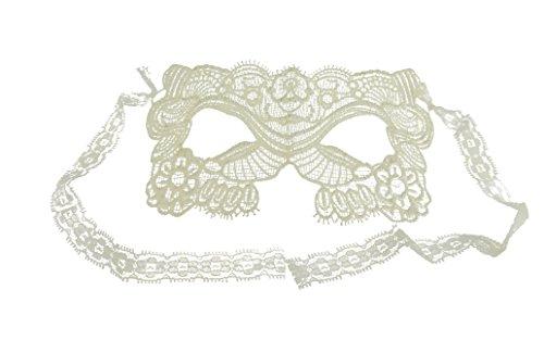 Stickerei Karneval Festival Abends Hälfte Gesicht Maske Gr. Einheitsgröße, Weiß - Weiß (Black Glamour Maske)