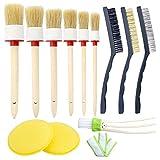TOOGOO Auto Detailing Brush Set 12 Pcs,Car Cleaner Brush Set Including Natural Boar
