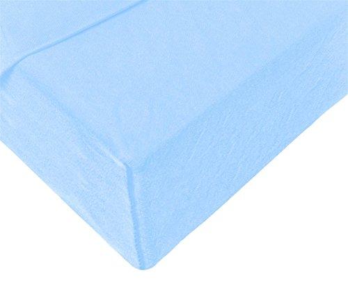 Double Jersey - Spannbettlaken 100% Baumwolle Jersey-Stretch bettlaken, Ultra Weich und Bügelfrei mit bis zu 30cm Stehghöhe, 160x200x30 Himmelblau - 4