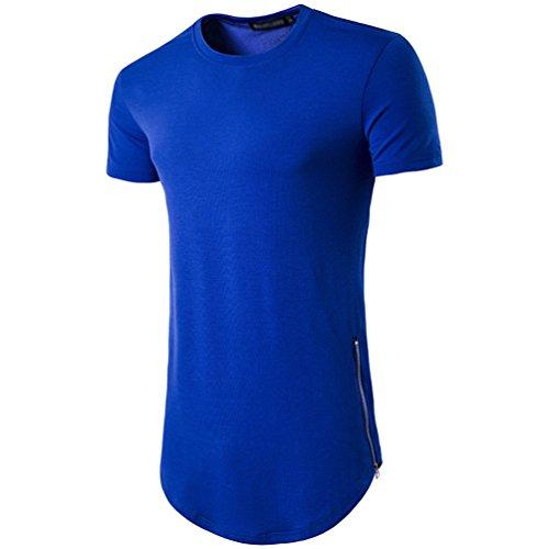 CHENGYANG Herren Lang T-shirt mit Reißverschluss Einfarbig Rundhals T-Shirt Tops Blau