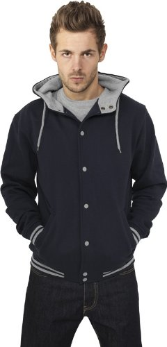 Urban Classics Herren Sweatjacke Hooded College Sweatjacket Black-Grey