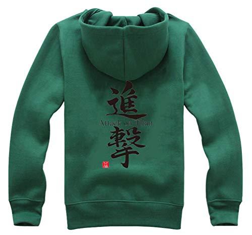 Mikasa Ackerman Kostüm - Cosstars Anime Shingeki no Kyojin Attack on Titan Hoodie Jacket Cosplay Kostüm Zipper Pullover Jacke Outwear Sweatshirt Mantel Grün-3 M