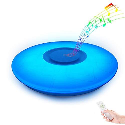 LED Dimmbar Deckenleuchte Farbwechsel mit Fernbedienung mit Bluetooth Lautsprecher, HOREVO RGB Beleuchtung 36W 3000LM 3000K-6500K Warmweiß/Kaltweiße Deckenlampe für Kinderzimmer, Party, Wohnzimmer