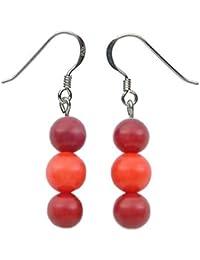 Ohrringe Ohrhänger aus Koralle & 925 Silber Ohrschmuck für Damen rot & orange