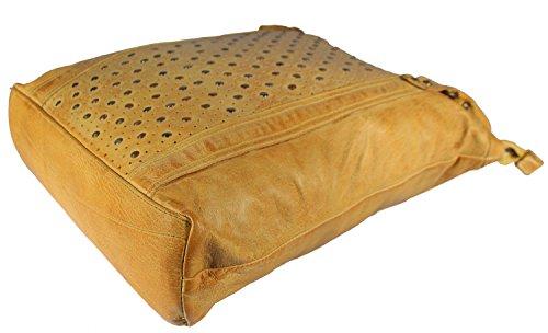 Varazze - Leder Shopper Used-Look mit Nieten Perforiert MEDITERRAN URBAN BAG Damen Handtaschen Schultertaschen Henkeltaschen Beuteltasche 38x40x9 cm (B x H x T), Farbe:hellgrau gelb