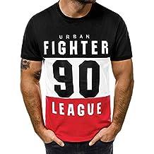 29d783f075f65 Camiseta de Manga Corta para Hombre Moda Estampado Cartas Cuello Redondo  Tops de Hombre Cómodo Transpirables