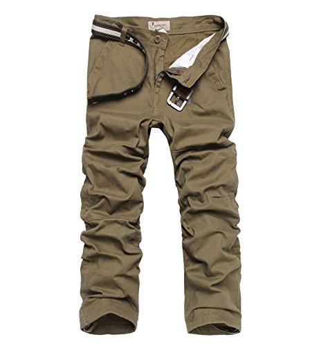 Surenow Pantaloni da Uomo Sportivi con Tasche Pantalone Camuffamento Casuale Outdoor da Jogging Trekking Viaggio Escursionismo(senza cucitura) giallo militare