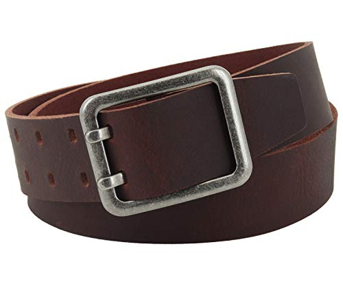 Vascavi Leather leather belt, 4,5 cm wide and approx. 0,3 cm thick, genuine leather, Made in Germany, for men and women # 4,5-0003 (115 cm Total length 130 cm, Dark brown)