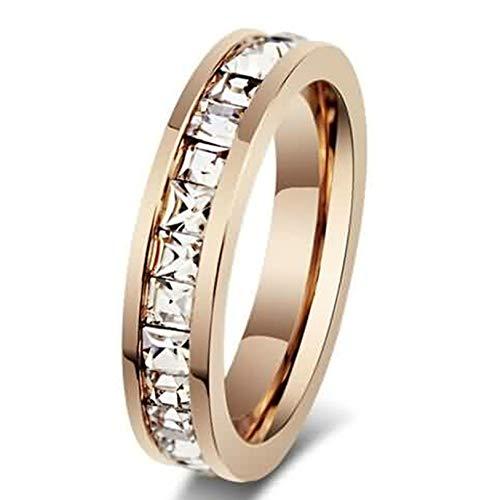 LOUMVE Eternity Ringe Edelstahl Damen Princess Cut Cubic Zirconia Rose Vergoldet 8MM Freundschaftsringe Verlobungsring mit Gravur Größe 62 (19.7)