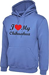 I Love Heart My Chihuahua Dog Violet Hoody Hooded Sweatshirt With Black Text & Red Heart